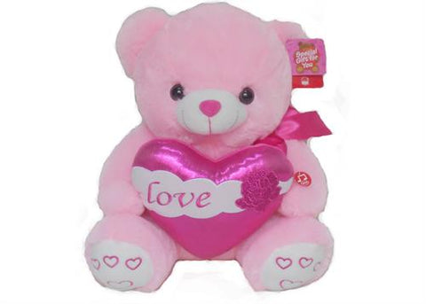 "15"" Pink Musical singing Bear with Glitter Heart and Light up cheek(1 pcs)"