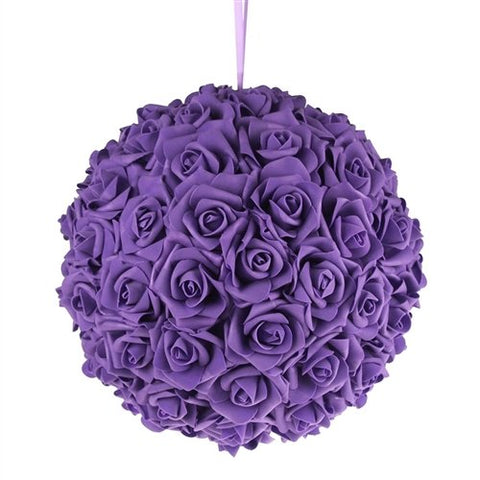 "Foam Rose Pomander Flower Kissing Ball 10"" PURPLE"