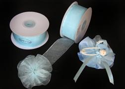 "Pastel Blue 1-1/2"" Sheer Organza Capia Pull Bow Ribbon 25Yards"