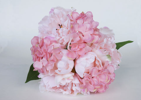 Peony & Hydrangea Silk Flower Wedding Bouquet Pink Mix