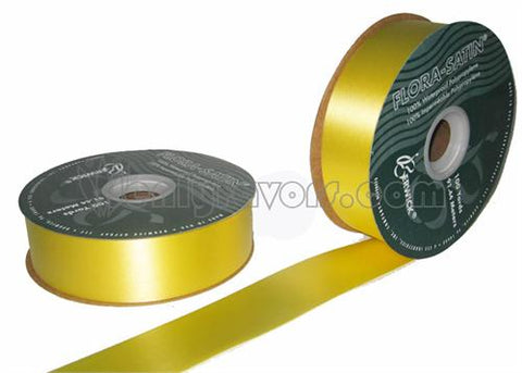 "#9 Yellow Flora Satin Ribbon 1- 7/16"" X 100 Yards (1 Roll)"