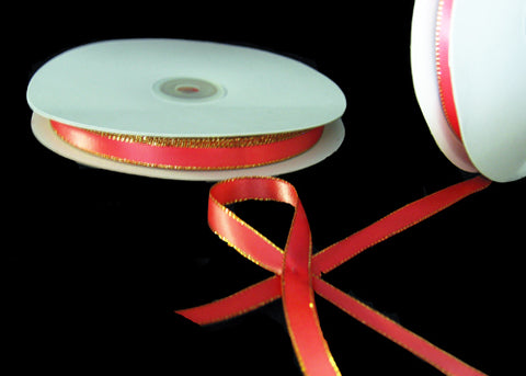 "3/8"" Double Face Satin Ribbon with Gold edge Coral 50 Yards"