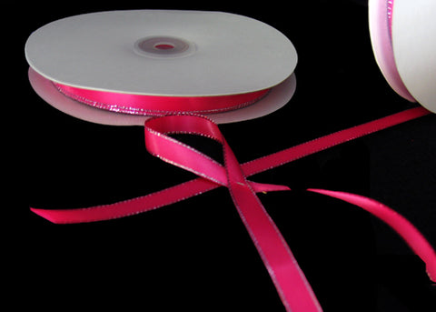 "3/8"" Double Face Satin Ribbon with Silver Edge Hot Pink 50 Yards"