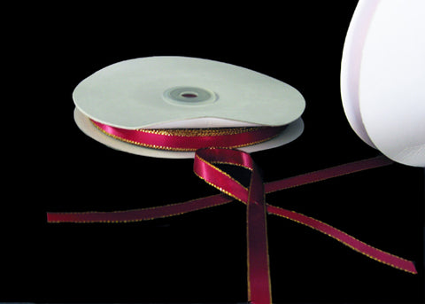 "3/8"" Double Face Satin Ribbon with Gold Edge Burgundy 50 Yards"