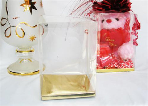 Clear PVC Favor Box with Golden Card Bottom Small - 12 pcs