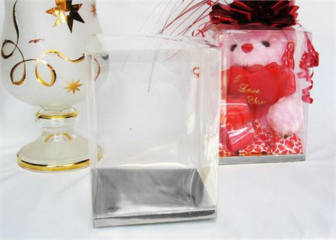 Clear PVC Plastic Favor Box with Silver Card Bottom 3.75x3.75x4.5 Inch 12 PCS