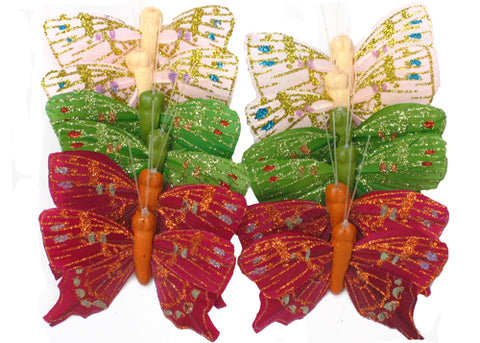 Artificial Feather Butterflies 13 (12 Assorted Pieces)