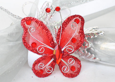 Rhinestone Organza Decorative Butterflies Red (50 Pieces)