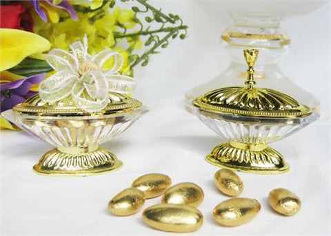 Oval Plastic Favor Box Clear-Gold  - 12 Pieces
