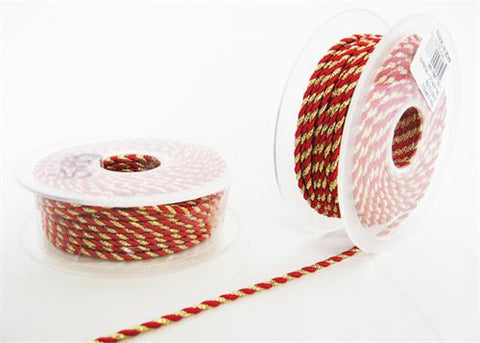 2.5MM X 20Yards Twisted Cord Metalic Gold & Red