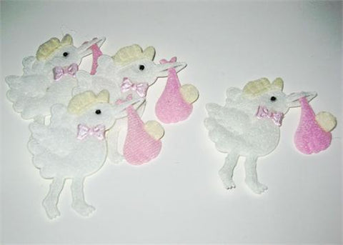 Baby Shower Decoration Cotton Baby Stork Pink (12 pieces)
