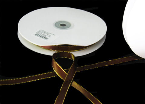 "3/8"" Double Face Satin Ribbon with Gold Edge Brown 50 Yards"