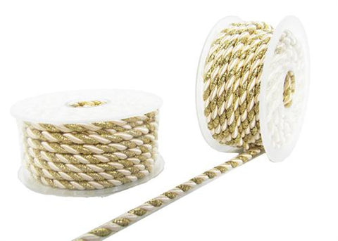 2.5MM X 20Yards Twisted Cord Metalic Gold & WHite