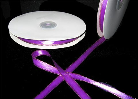 "3/8"" Double Face Satin Ribbon with Gold Edge Purple 50 Yards"