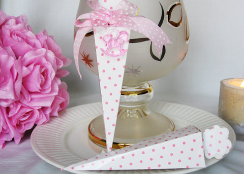 Cone Shaped Light Pink Polka Dots Favor Boxes (12 pieces)