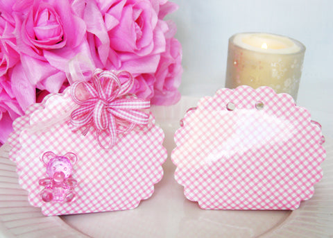 Scallop Cut Pink Gingham Favor Boxes (12 pieces)