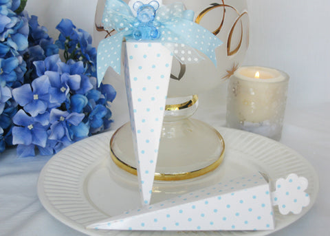 Cone Shaped Light Blue Polka Dots Favor Boxes (12 pieces)