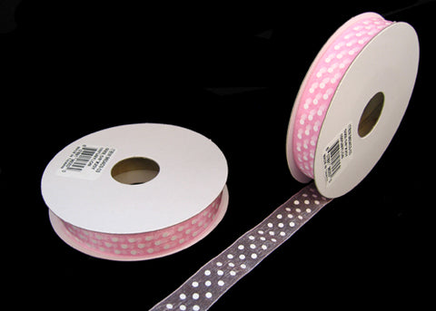 "5/8"" White Polka Dots Organza Ribbon Pink (25 yards)"