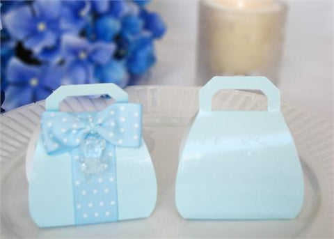 Purse Shape Favor Box in Blue - 12 pcs