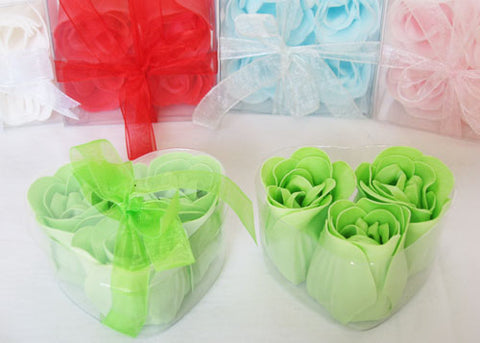Scented Rose Soap Favor Heart Shape Box Green (12 boxes)