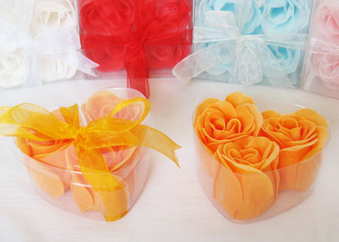 Scented Rose Soap Favor Heart Shape Box Orange (12 boxes)