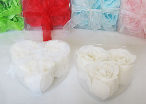 Scented Rose Soap Favor Heart Shape Box White (12 boxes)