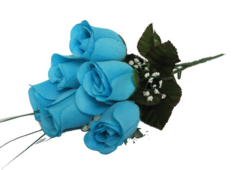 7 Heads Turquoise Artificial Closed Rose Bush (12 Bushes)