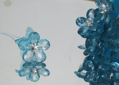 "0.75"" Mini Acrylic Crystal Flowers Turquoise(120 Flowers)"