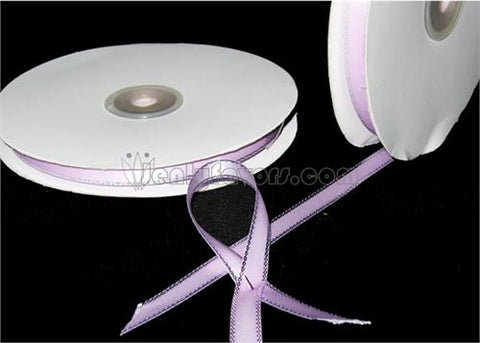 "3/8"" Double Face Satin Ribbon with Silver Edge Lavender 50 Yards"
