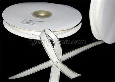 "3/8"" Double Face Satin Ribbon with Silver Edge Ivory 50 Yards"