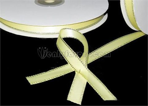 "3/8"" Satin Ribbon with Silver Edge Yellow 50 Yards"