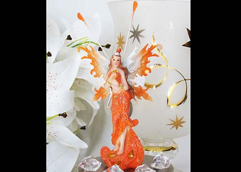 Feather Fairy with Stones Girl Mis Quince & Sweet16 Decoration Orange (12 Pieces)