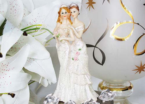 5 Poly Resin Wedding Cake Topper Lesbian Couple (1 Pieces)