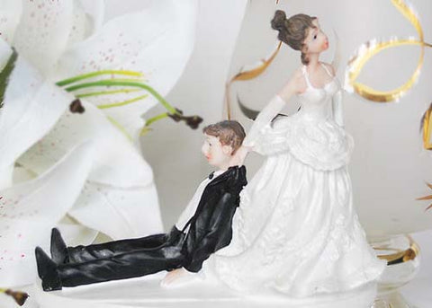 5 Poly Resin Wedding Cake Topper Bride Pulling The Drunk Groom