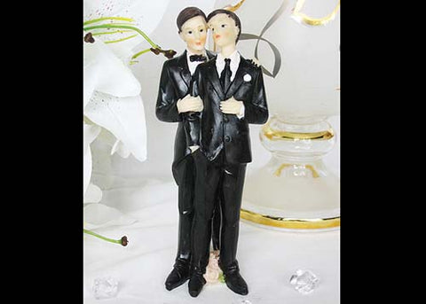 7 Poly Resin Wedding Cake Topper Gay Couple (1 Piece)