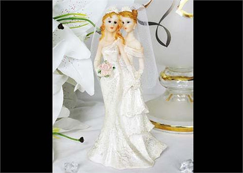 7 Poly Resin Wedding Cake Topper Lesbian Couple (1 Piece)