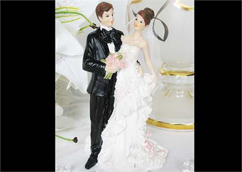 5Poly Resin Wedding Cake Topper Couple with Flower(12Pieces)