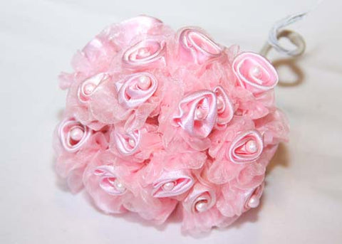 Pink Organza & Satin Rose Bud With Pearl (108 Flowers)