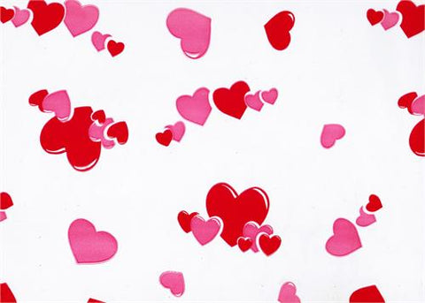 "40"" x 100 Ft Pink Red Hearts Printed Cellophane Paper (1 Roll)"
