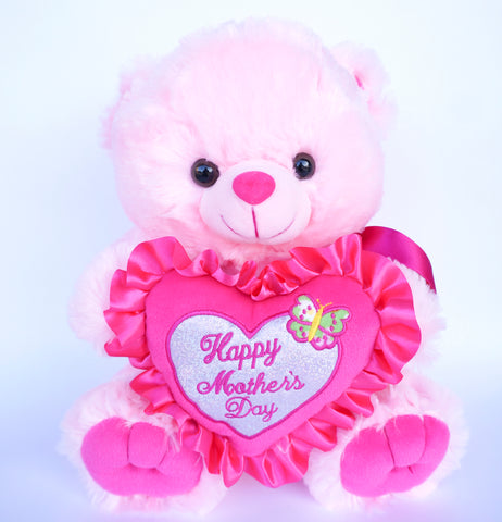 "12"" Pink Musical Teddy Bear with ""Happy Mother's Day"" Heart (1 Piece)"