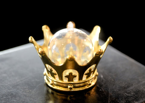 Plastic Mini Dome with Crown Design Party Decoration Favor Box Gold (12 Sets)