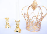 Plastic Taper Candle Holder Gold (12 Pieces)