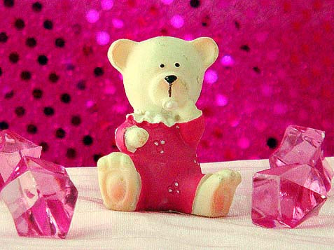 Poly Resin Miniature Teddy Bear- Pink (24 Pieces)
