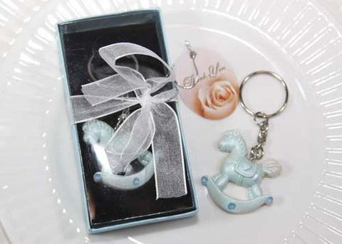 Poly Resin Rocking Horse Key Chain- Blue (12 Pieces)