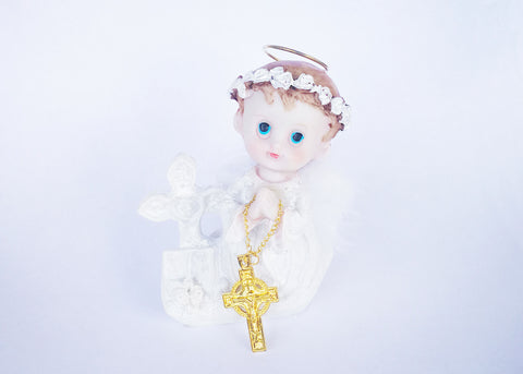 Praying Baby Angel with a Silver Cross and Feather Wings White (12 Pieces)