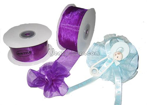 "Purple 1-1/2"" Sheer Organza Capia Pull Bow Ribbon 25Yards"