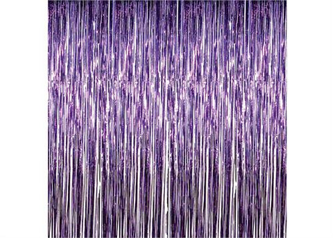 Purple Metallic Foil Party Tassel Curtain Fringe Wall Decoration Hanging 3'x 8'