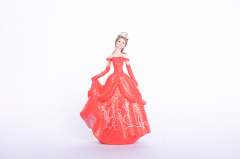 Poly Resin Quinceañera Sweet 16 Figurine Cake Topper Coral (12 pieces)