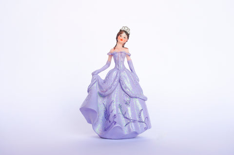 Poly Resin Quinceañera Sweet 16 Figurine Cake Topper Lavender (12 pieces)