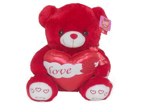 "15"" Red Musical Valentine Bear with Glitter Heart and Light up cheek (1 piece)"